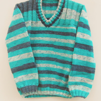 Child's Hand Knitted Unisex Jumper with Ribbed Yoke, Children's Clothes