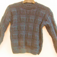 Jumper with Large Basket Weave Pattern, Hand Knitted Child's Jumper