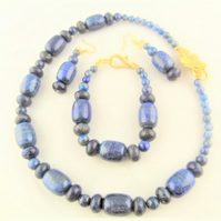 Lapis Lazuli Jewellery Set with Gold Plated Clasp, Semi Precious Jewellery Set