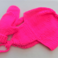 Baby's Two Piece Hat with Ear Flaps And Mitten's Set, Birthday Gift