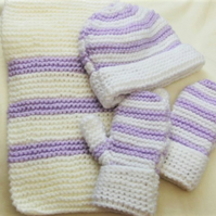 Aran Weight Children's Hat Scarf & Mitten Set, Winter Hat Set