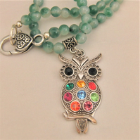 Rhinestone Owl Pendant Necklace With A Choice of Beaded Necklace