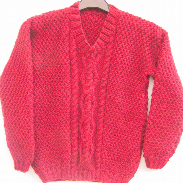 Children's Hand Knitted Cable Patterned Jumper, Winter Jumper,