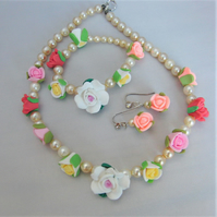 Fimo Flower and Pearl 3 Piece Jewellery Set, Colour Choice, Birthday Gift