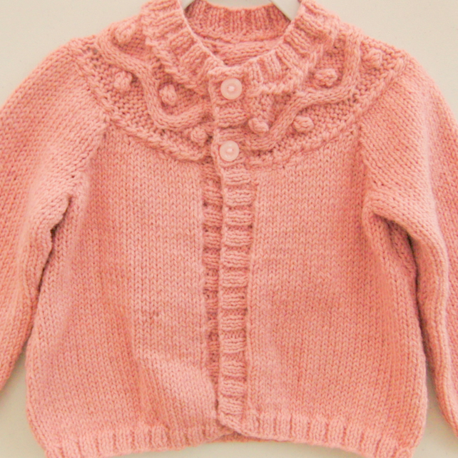 Girl's Aran Weight Cardigan With A Patterned Yoke, Children's Clothes