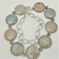 Long Line Jasper Coin Bead Necklace in Shades of Brown and Blue On Silver Chain