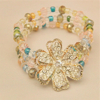 3 Strand Multi Coloured Crystal and Bead Bracelet with Silver Plated Rhinestone