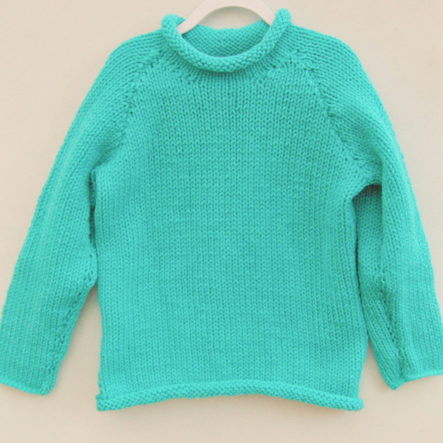 Child's Plain Jumper Hand Knitted in Chunky yarn, Choice of Style