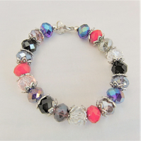 Multi Coloured Crystal Bracelet with Silver Plated Bead Caps, Anniversary Gift