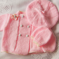 Coat Beret and Mittens Set Hand Knitted For A Baby Girl, New Baby Gift