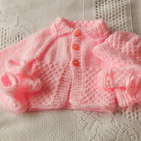 Baby Girl's Hand Knitted 4 Piece Cardigan Set, Baby Shower Gift, New Baby Gift