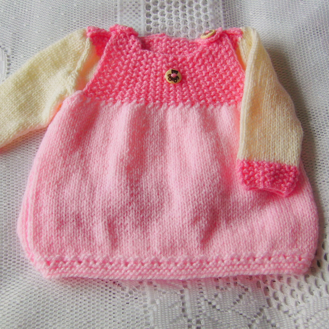 Baby Girl's Knitted Pink Pinafore Dress and Jumper Set, Baby Shower Gift