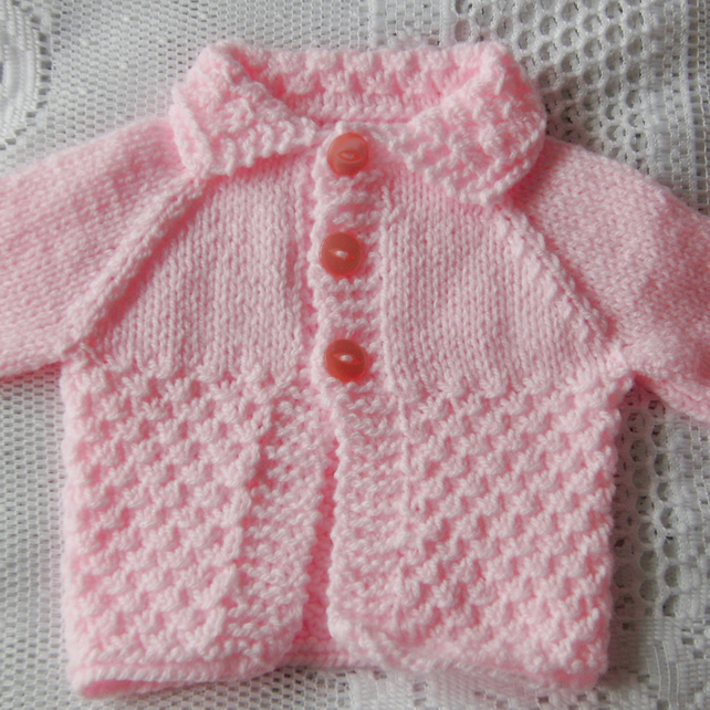 Baby Girl's Hand Knitted Pink Cardigan, Baby Shower Gift, New Baby Gift