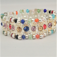 Multi Coloured Rhinestone Connector and Glass Crystal Rondelle Bead Bracelet