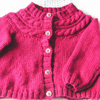 Girl's Knitted Cardigan With A Cabled Yoke, Maroon Cardigan