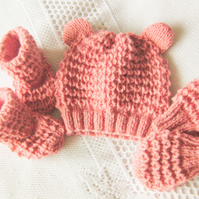 Baby's 3 Piece Hand Knitted Hat Set With Ears, Baby Shower Gift, New Baby Gift