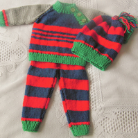 Hand Knitted Baby's 3 Piece Baby's Trousers Jumper and Hat Set, New Baby Gift