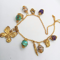 Necklace With Multi Coloured Gold Plated Caged Beads & Charms, Beaded Necklace