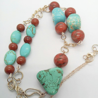 Turquoise Nugget Bead & Round Mahogany Jasper Bead Necklace With Silver Chain