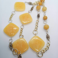 Honey Jade and Silver Plated Chain Long Necklace, Longline Necklace