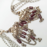 Silver Plated Indian Incense Burner Charm with Dark Red Beads and Silver Chain