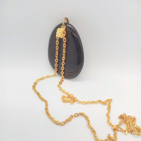 Large Black Stone Pendant with Gold Chain, Black Pendant Necklace