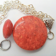 Round Pressed Coral Pendant Necklace, Coral Necklace, Ladies Pendant Necklace