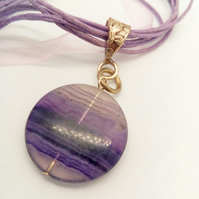 Purple Fluorite Coin Pendant Necklace on a Lilac & Purple Organza Necklet