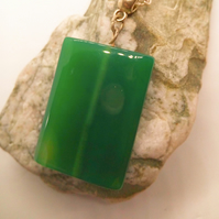 Rectangular Green Glass Bead Pendant Necklace on a Silver Plated Chain