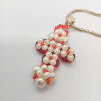 Red Crystal and Cream Pearl Beaded Cross Necklace