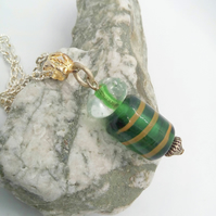 Green Glass Beads Pendant Necklace on a Silver Plated Chain, Green Pendant
