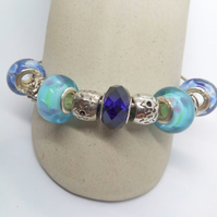 Rigid  Bangle with Blue Lampwork Beads & Silver Plated Spacers, Mothers Day Gift
