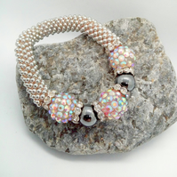 Sparkly Pink Shamballa and Hematite Bead Snowflake Bracelet, Ladies Jewellery