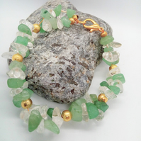 Green Jade & Clear Quartz Chip Bead Bracelet With Gold Plated Spacer Beads