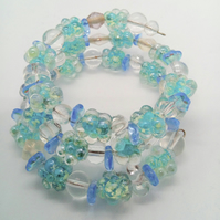 Blue Flower and Clear Bead Memory Wire Cuff Bracelet, Floral Bead Bracelet