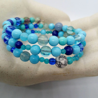 Blue Glass Bead 3 Strand Memory Wire Cuff Bracelet, Ladies Cuff Bracelet