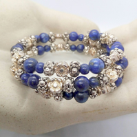 Beaded Cuff Bracelet With Silver Plated Spacers and Lapis Lazuli Beads