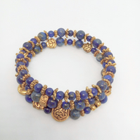 Memory Wire Cuff Bracelet With Lapis Lazuli Beads and Gold Beads
