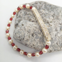 Pearl and Crystal Bracelet with Silver Plated Rhinestone Bar, Christmas Gift