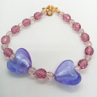 Bracelet with Lilac and Mauve Crystal Beads with Purple Heart Beads