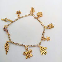 Gold Plated Charm Bracelet with 9 Charms on a Gold Plated Chain, Charm Bracelet