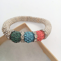 Red Teal and Green Shamballa Bead and Crystal Rondelle Bead Snowflake Bracelet