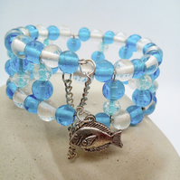 Blue & Clear Beaded Memory Wire Cuff Bracelet With Safety Chain and Fish Charm