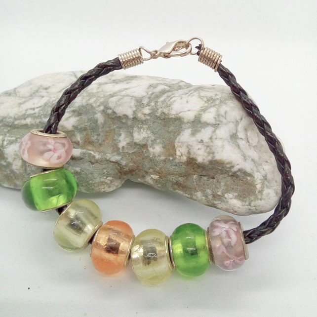 Green Pink Floral Clear and Transparent Pink European Lampwork Bead Bracelet