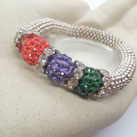 SALE - Red Purple & Green Shamballa Bead & Crystal Rondelles Stretch Bracelet