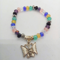 Multi Coloured Crystal Rondelle Bead Bracelet with Silver Plated Butterfly Charm
