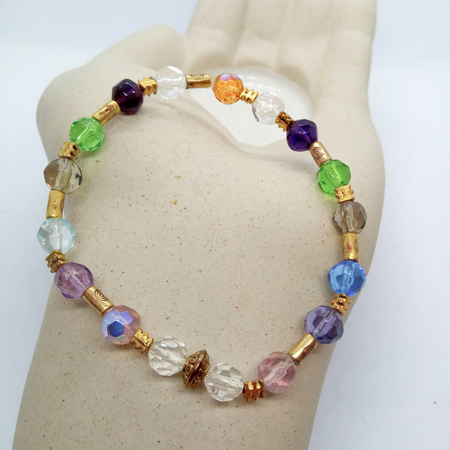 Multi Coloured Glass Crystal Beaded Bracelet with Gold Plated Spacers