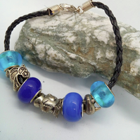 Blue European Lampwork Beaded Bracelet with Silver Plated Charms