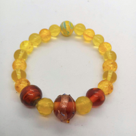 SALE - Shades of Brown Topaz and Yellow Beaded Stretch Bracelet