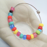 Bangle Made With Multicoloured Glass Beads on a Rigid Silver Base